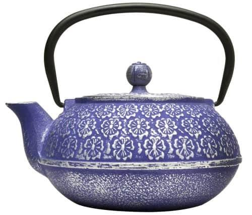 Blue Floral Cast Iron Teapot