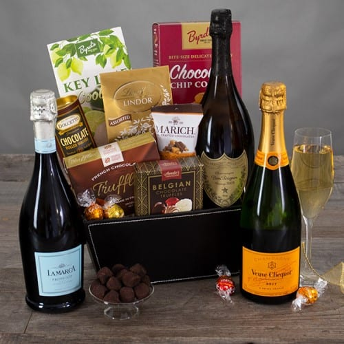 Champagne & Chocolates Gift Basket - Christmas Gifts For Mom