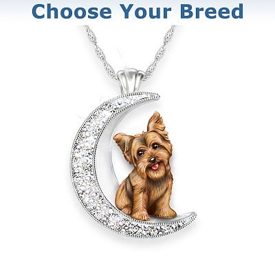 Dog And Crystal Moon Pendant Necklace