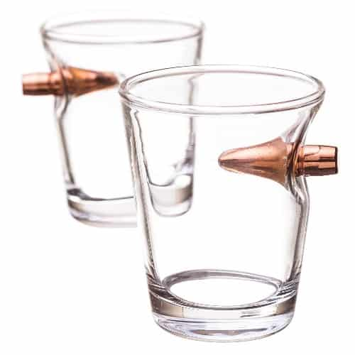Hand Blown Shot Glass With Real Bullet