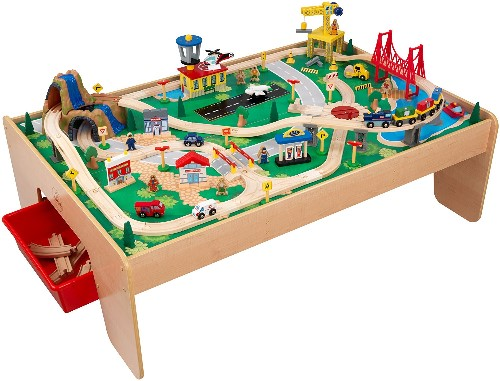 KidKraft Waterfall Mountain Train Set With Table