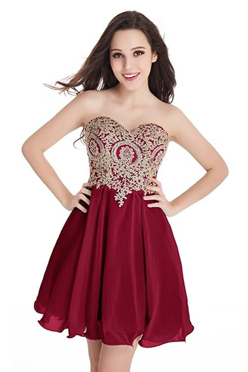 Lace Applique Party Dress with built-in bra