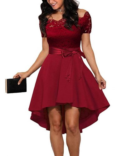 Lace Off Shoulder Cocktail Dress