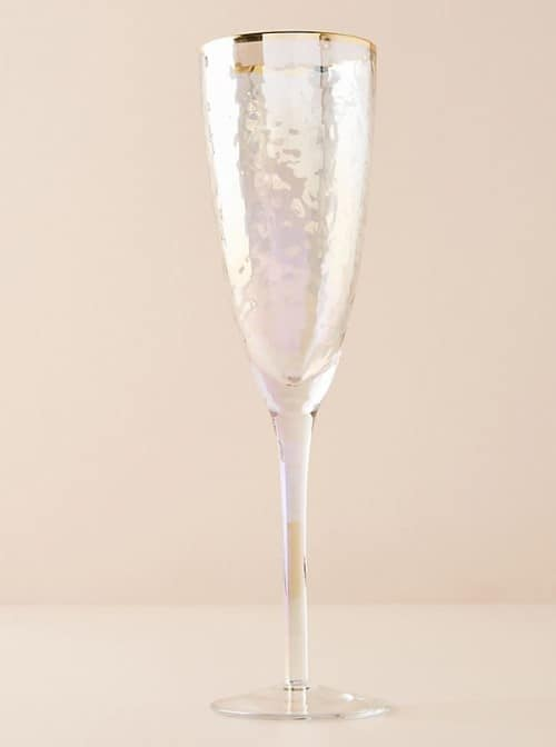 Lustered Gold Rimmed Champagne Flutes - Christmas Gifts For Mom