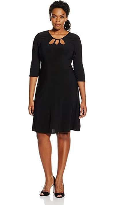Plus Size Long Sleeve Bodycon Dress with triple keyhole neckline