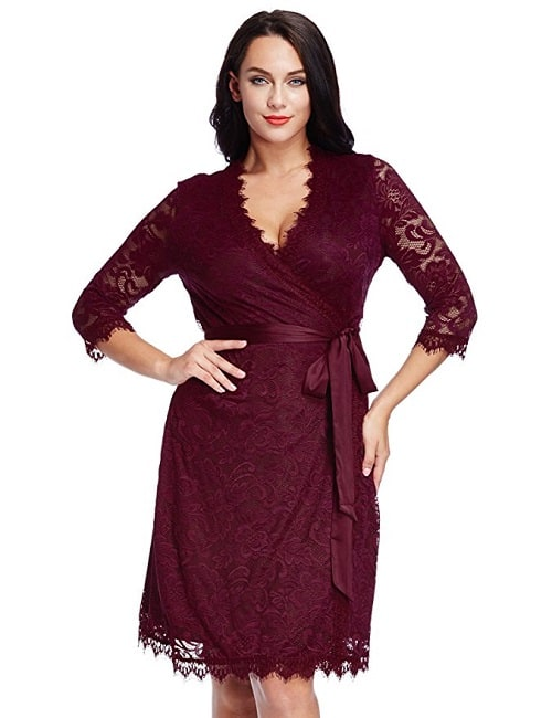 Plus Size Long Sleeve Wrap Dress in red with satin belt and scalloped hems