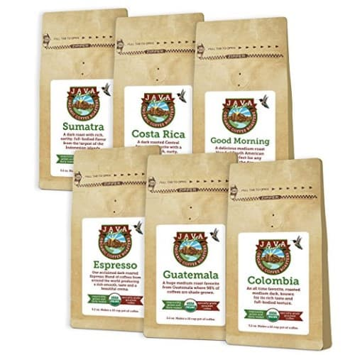 Java Planet Sample Pack of USDA Organic Whole Coffee Beans
