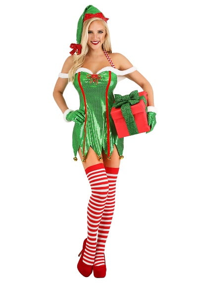 Sexy Elf Costume for Women with Glitter Dress