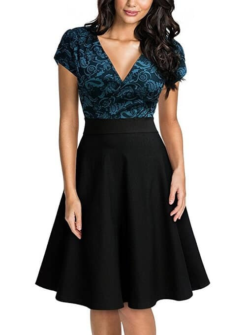 V-Neck Floral Lace Party Dress