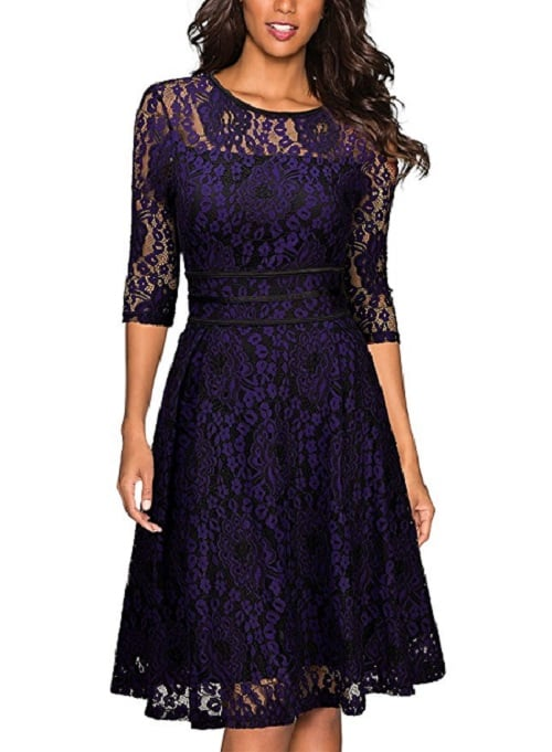 Vintage Lace Long Sleeve Party Dress with scoop neck and slim waist design