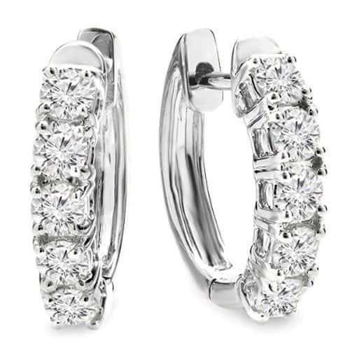 14K White Gold 1.00 Carat Diamond Hoop Earrings