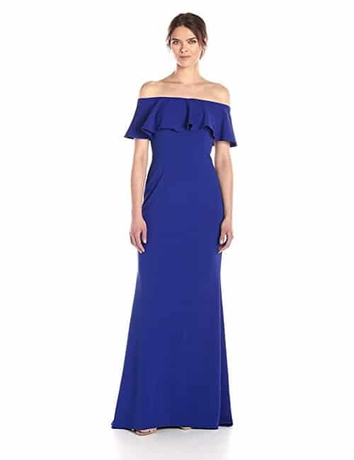 Adrianna Papell Blue Off The Shoulder Gown