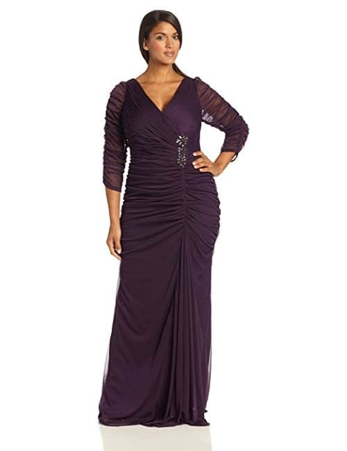 Adrianna Papell Plus-Size Ruched Gown with 3/4 length sleeve