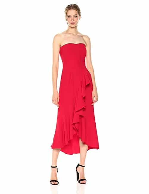 Amanda Uprichard Strapless Midi Dress