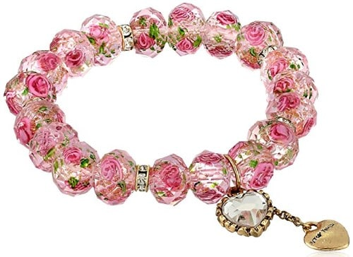 Betsey Johnson Tzarina Princess Pink Flower Bead Stretch Bracelet