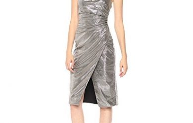 Black Halo Silver Lame Dress