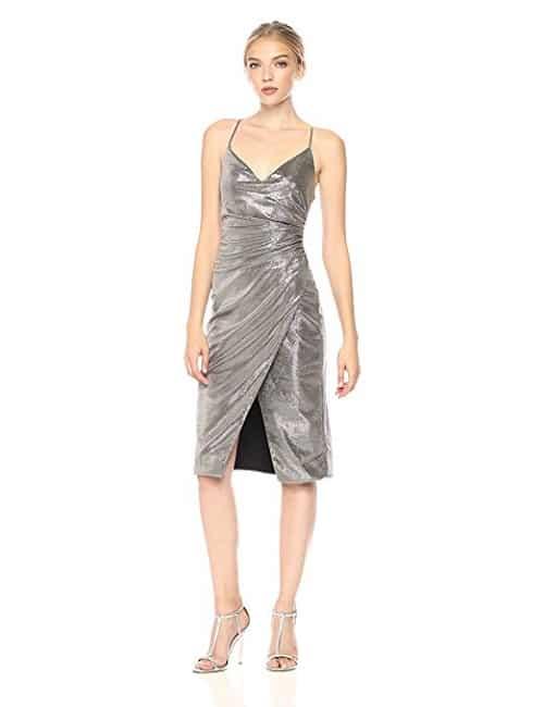 Black Halo Silver Lame Dress