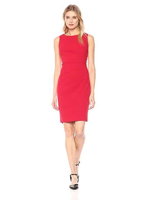 Calvin Klein Round Neck Sheath Dress with Starburst Detail - A dress with flattering detail and slimming effect