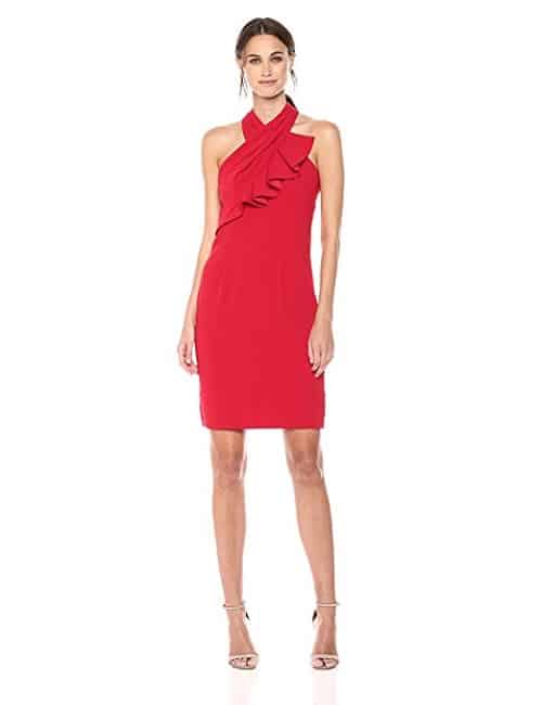 Carmen Marc Valvo Infusion Ruffle Halter Cocktail Dress