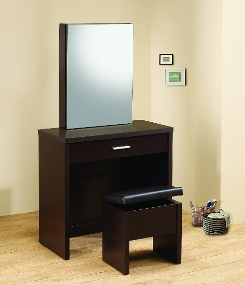 Contemporary 3 Piece Vanity Table Set - Cappuccino