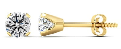 Diamond Stud Earrings In 14 Karat Yellow Gold