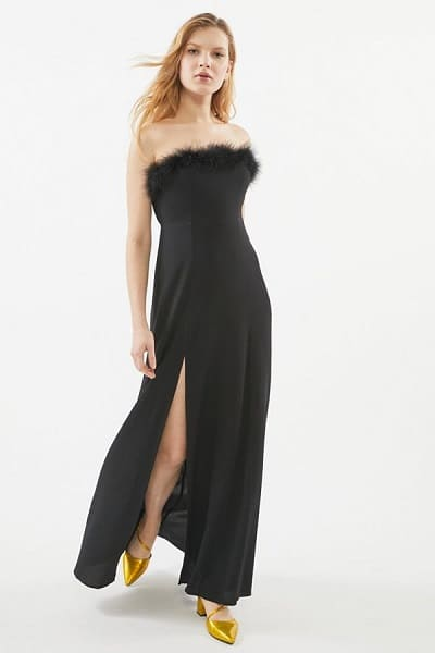 Faux Fur Trim Maxi Dress - Long Christmas Party Dresses