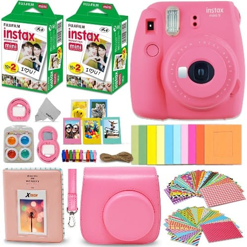 Fujifilm Instax Mini 9 Instant Camera FLAMINGO PINK + Accessories Bundle