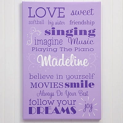Girls Personalized Canvas Print