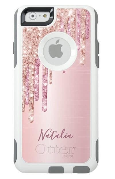 Glitter Drip Rose Gold Metallic iPhone Case