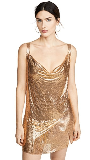 Gold Metal Mesh Shift Dress with Cowl Neck