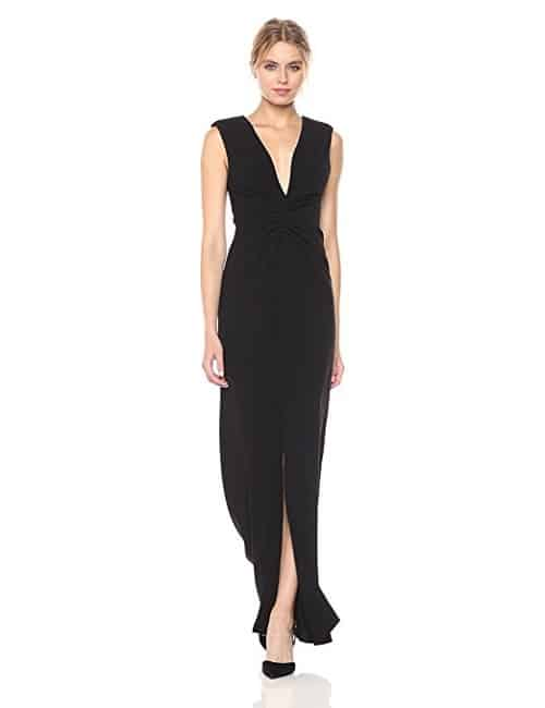 HALSTON HERITAGE Cap Sleeve V Neck Ruched Front Gown