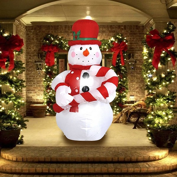 Inflatable Christmas Snowman With Hat Decor Outdoor Decorations