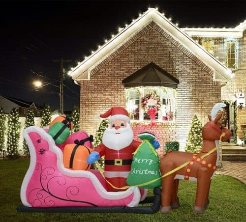 Inflatable Santa and Reindeer with sleigh and gifts
