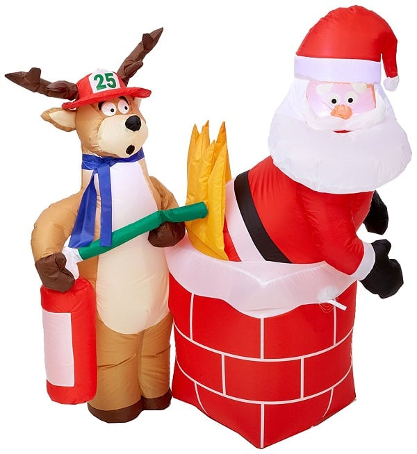 Inflatable Santa on Fire Decor