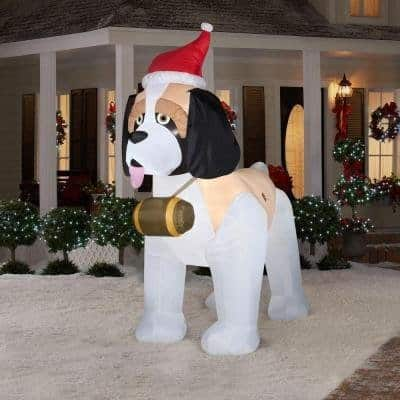 Inflatable St. Bernard Dog Christmas Decor