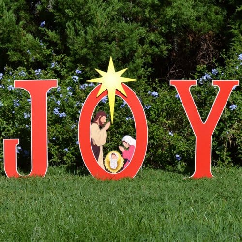Joy Nativity Yard Sign - Outdoor Christmas Nativity Scene