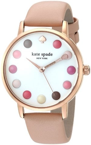 Kate Spade New York Leather Strap Metro Makeup Watch