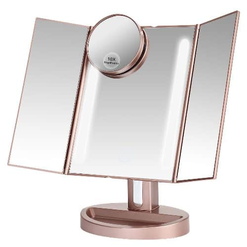 LEJU Rose Gold Lighted Makeup Mirror
