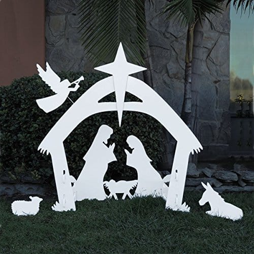 Large Outdoor Christmas Nativity Scene in White