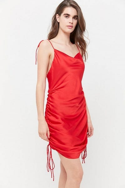 Red Christmas Party Dresses - Lioness String Along Satin Cinched Dress
