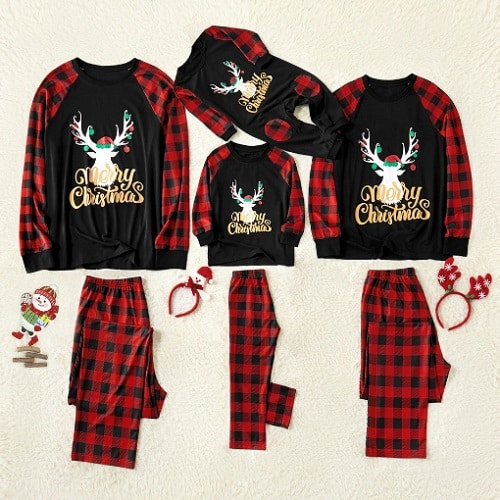 Merry Christmas Reindeer Antler Print Plaid Matching Pajamas Set