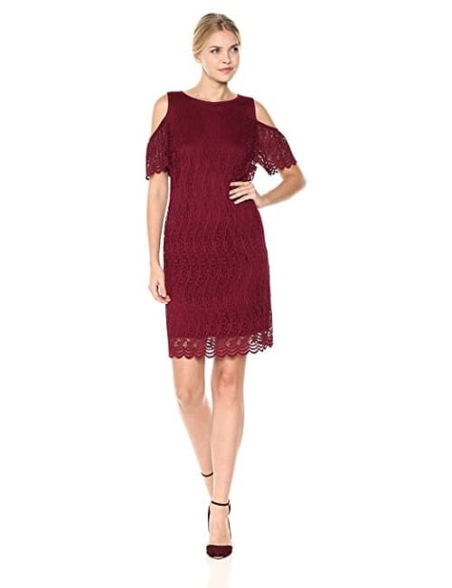 Nine West Scallop Lace Red Dress with Cold Shoulder