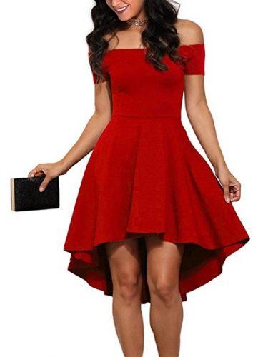 Off Shoulder High Low Skater Dress in Red