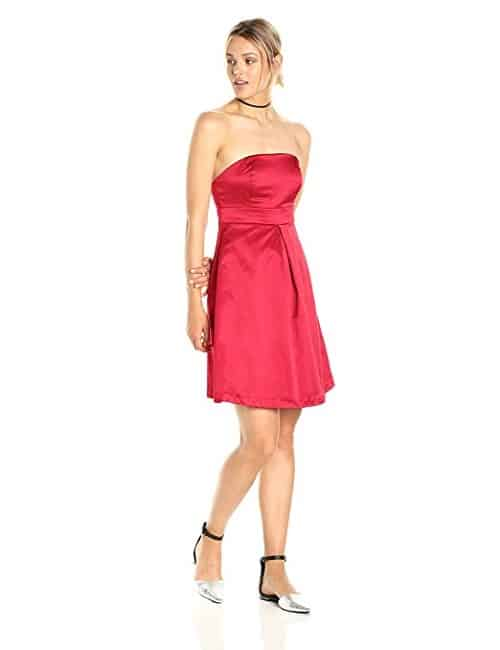 PARIS SUNDAY Strapless Sateen Shift Dress in Red