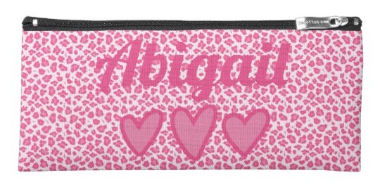 Pink Leopard Print Personalized Pencil Case