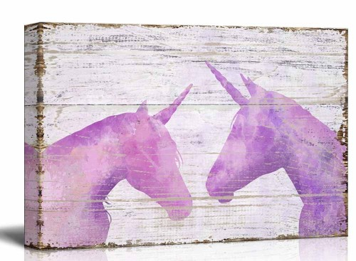Pink Unicorns on Wooden Background Wall Art