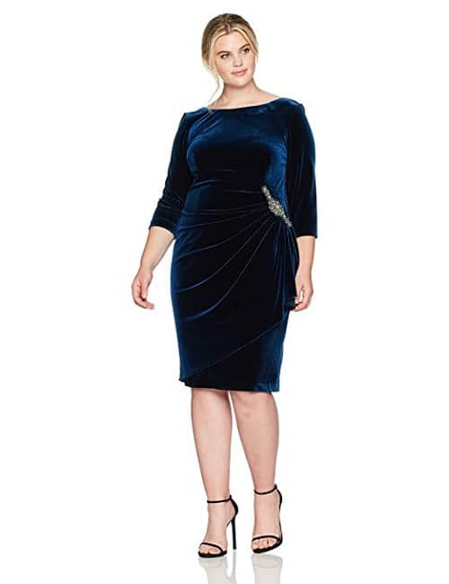 Plus Size Velvet Dress with Embellishment and 3/4 sleeve