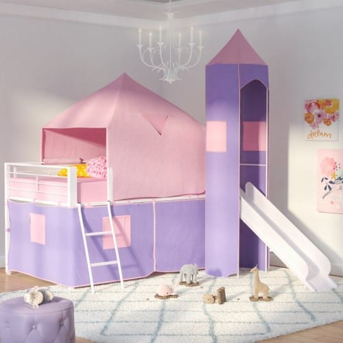 Princess Castle Twin Bed With Slide - Christmas Gifts For 5 Year Old Girls
