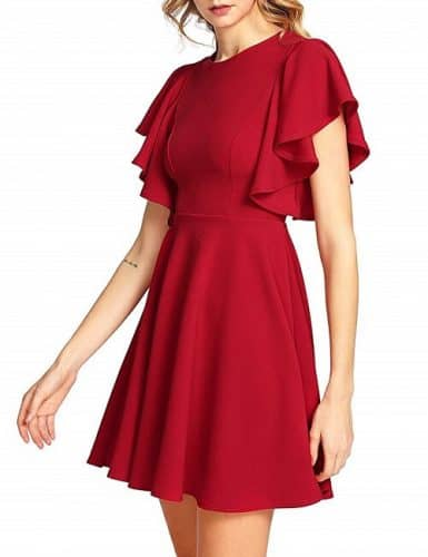 Red Christmas Cocktail Dress with A-line Skirt