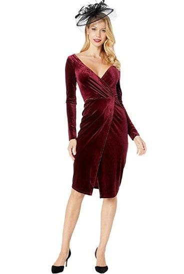 Red Velvet Long Sleeve Damsel Wiggle Dress